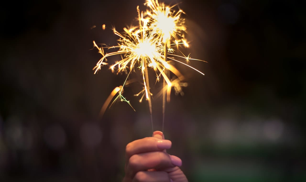 woman celebrating new years and holding sparkler
