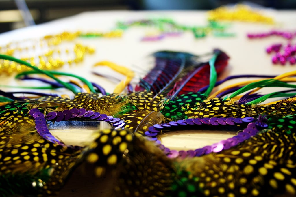 a feathered mardi gras mask surrounded by beads