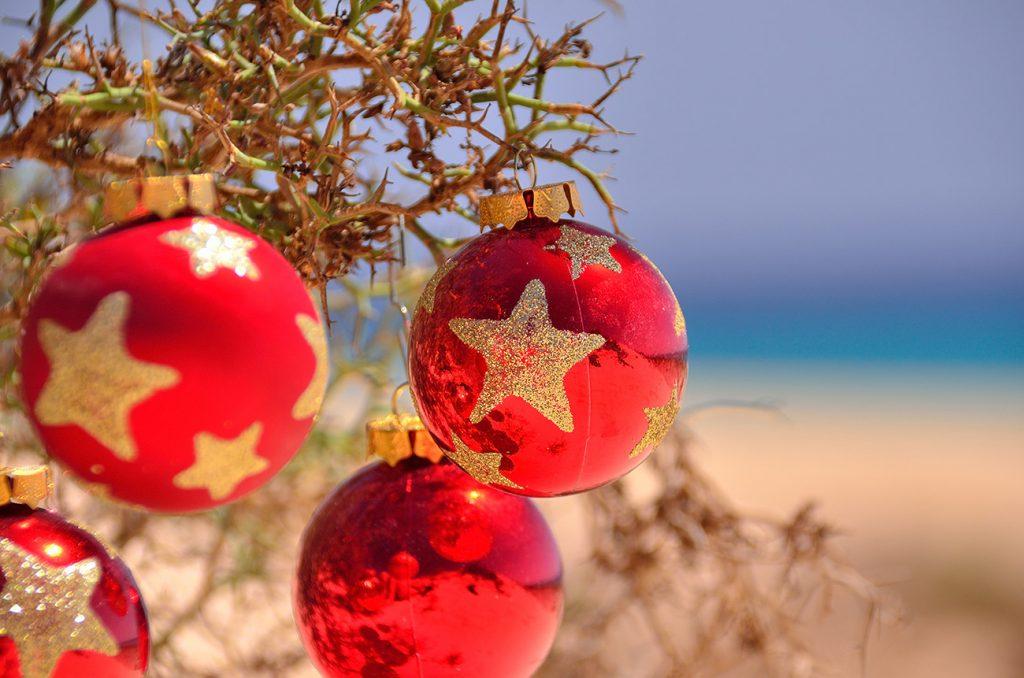 christmas ornaments on the beach
