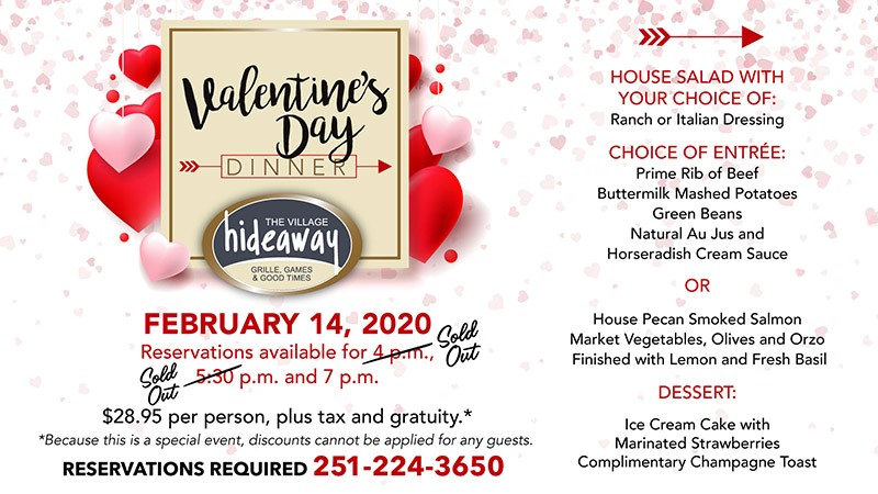 Valentine's Day Special at The Village Hideaway - The Beach Club Gulf Shores AL