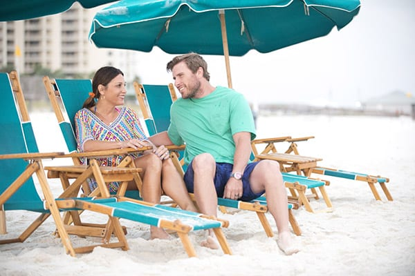 Beach chair rentals at the Beach Club Resort Gulf Shores Alabama