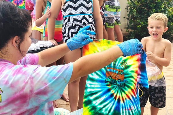 Poolside Craft: Tye Die T-Shirts - The Beach Club Resort Gulf Shores Alabama