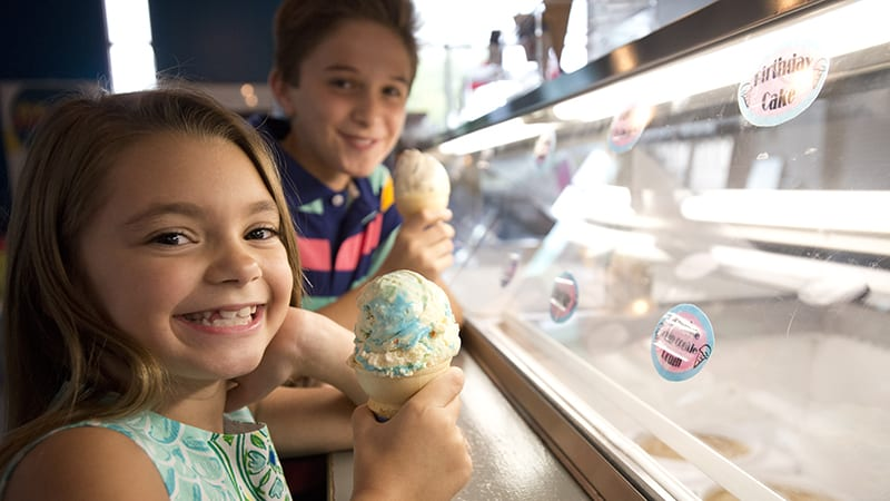 Kids enjoying ice cream at the Creamery - The Beach Club Resort Gulf Shores Alabama