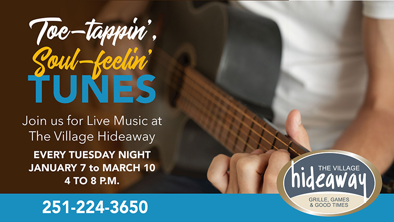Live Music at The Village Hideaway - Winter 2019 - The Beach Club Resort & Spa Gulf Shores Alabama