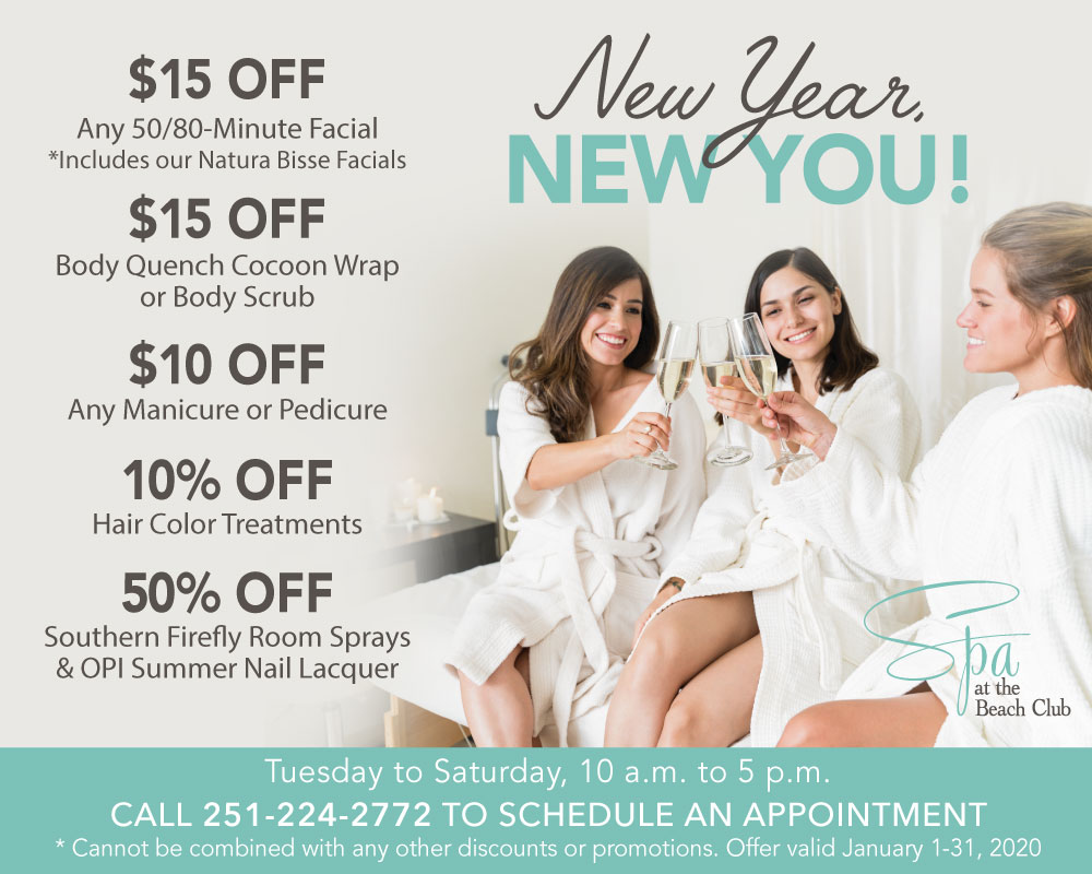New Years 2020 Specials at The Spa and Salon at The Beach Club Gulf Shores Alabama