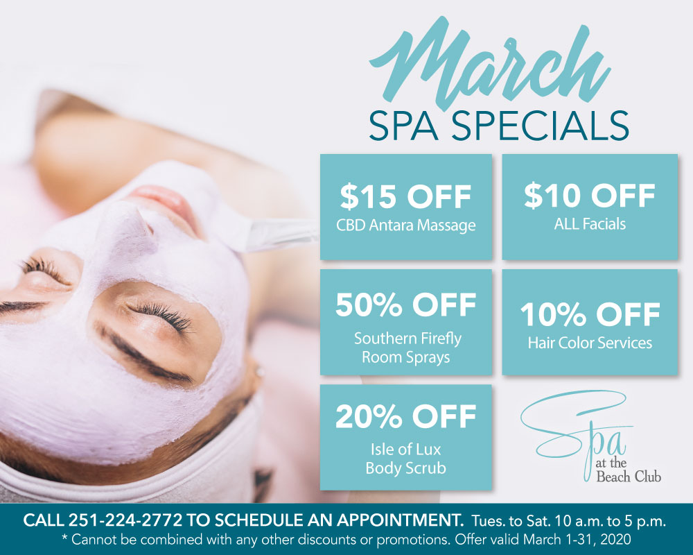 March 2020 Specials - The Spa and Salon at The Beach Club Spa and Resort Gulf Shores