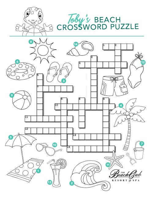 Toby's Beach Day Crossword Puzzle